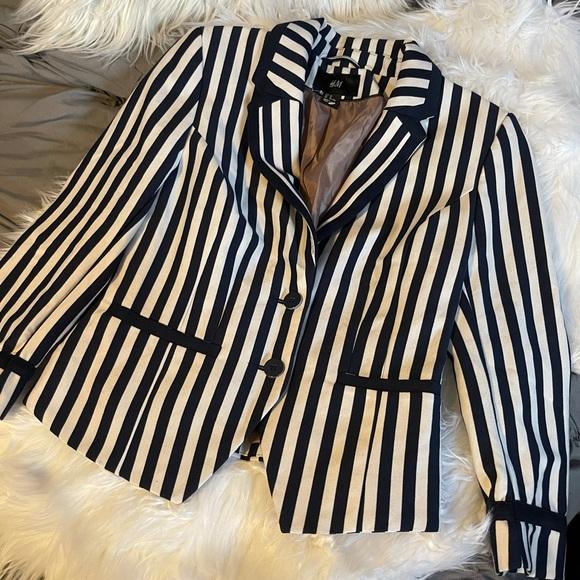 H&M Navy & Cream Striped Blazer